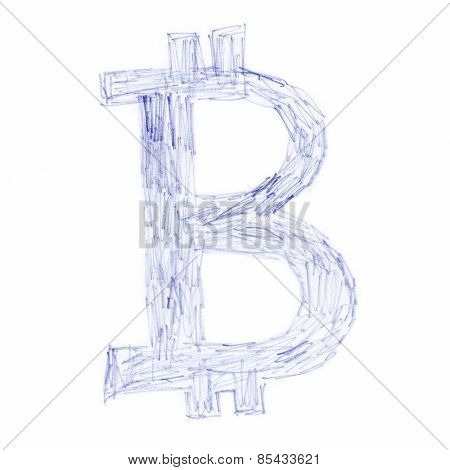 Bitcoin Symbol Scrawl Drawing