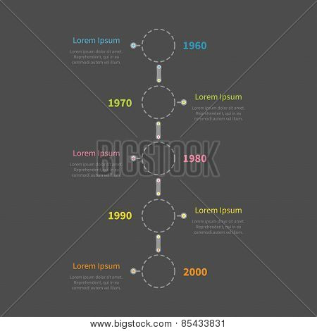Dash Line Round Icon Timeline Vertical Infographic With Text. Dark Background Template. Flat Design