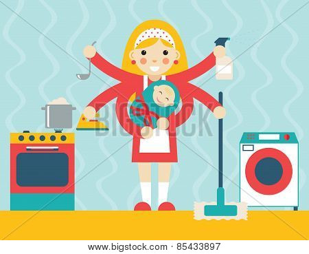 Housewife symbol with child and accessories icons on stylish background flat design concept template