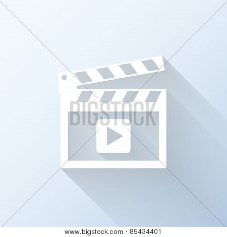 Flat Video Icon With Long Shadow. Vector Illustration