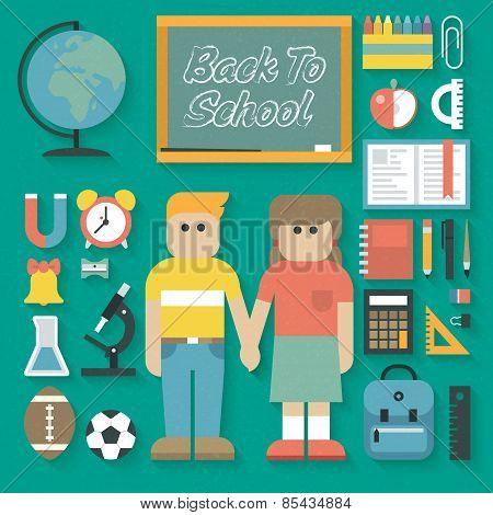 Vector illustration: Back to School Flat Icons Set