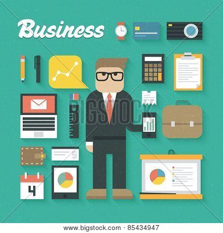 Vector illustration: Trendy Business Flat Icons Set