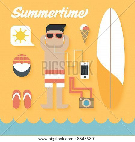 Vector illustration: Flat Icons Set of Summer Holiday