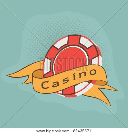 3D Casino chip covered by yellow ribbon on blue background.
