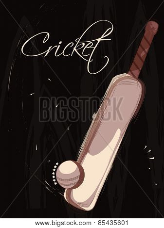 Cricket concept with creative bat and ball on stylish background.