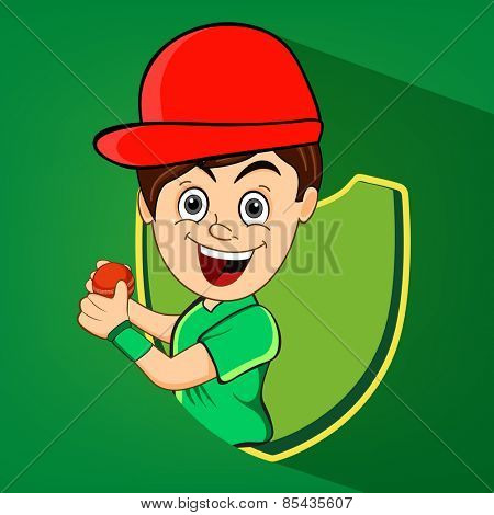 Cartoon of a boy with red cricket ball and winning shield on green background.