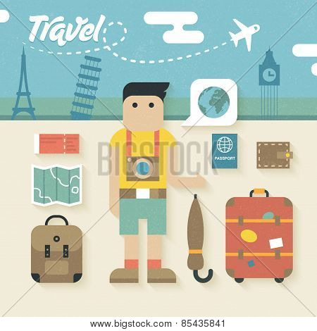 Vector illustration: Flat Icons Set of Travel Holiday