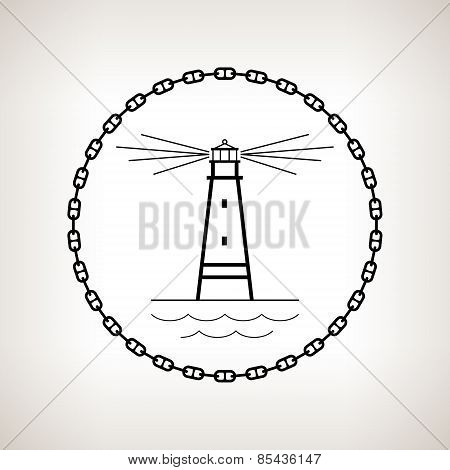 Silhouette Lighthouse On A Light Background
