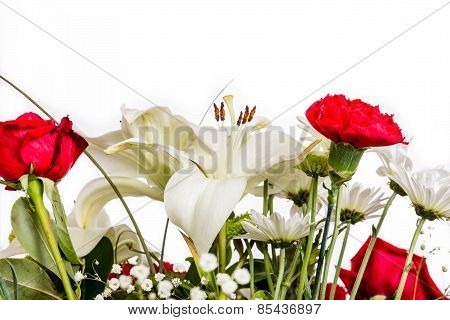 White Lilly With Red Carnation And Rose
