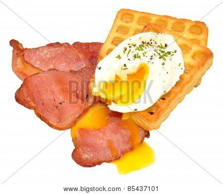 Egg And Bacon On Potato Waffles