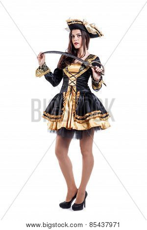 Woman in carnival costume. Pirate shape. Isolated on white