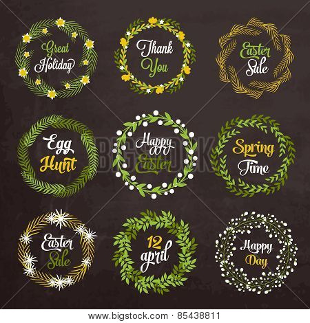 Easter wreaths with plants and flowers on chalkboard