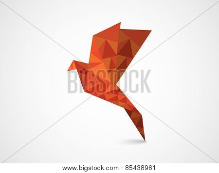 Flying origami bird on grey background for International Peace Day and Earth Day celebration.