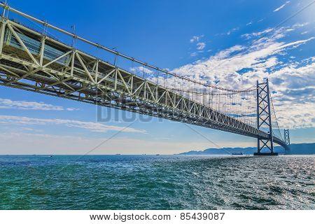 Akashi-Kaikyo Bridge in Kobe Japan