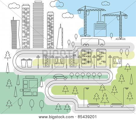 City and park line art. Vector illustration.