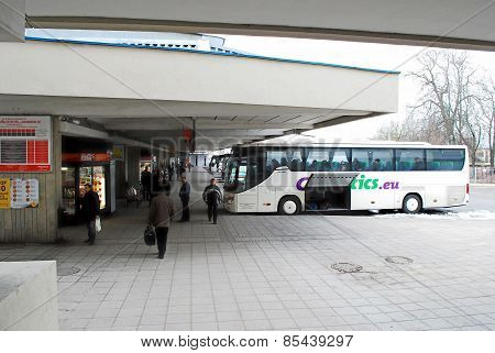 Bus Station In Capital Of Lithuania Vilnius City