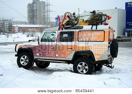 Advertising Car And Winter In Capital Of Lithuania Vilnius City