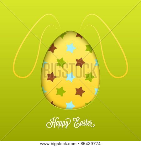 Happy Easter card with cut egg and line rabbit ears