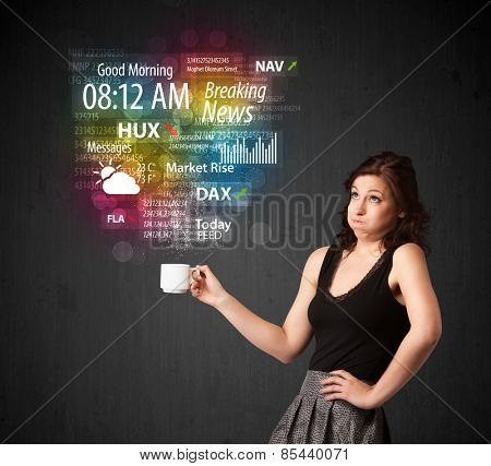 Businesswoman standing and holding a white cup with daily news and information coming out of the cup
