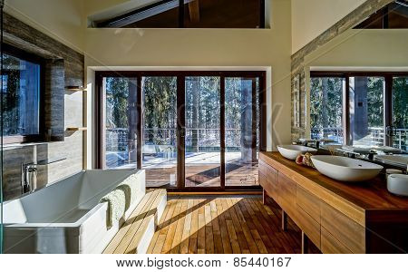 Modern Bathroom Interior In Sun Light