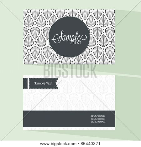 Front and back side presentation of floral business card or visiting card with place holder for contact details.