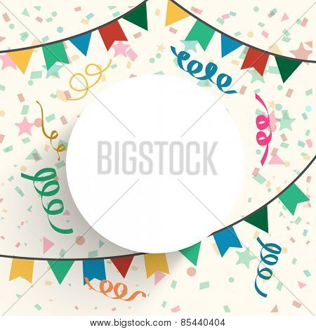 Festive celebration background decorated with colorful bunting and confetti with blank frame for your text.