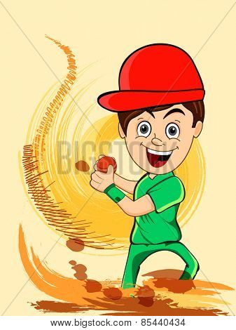Cartoon of a smiling boy holding red cricket ball on abstract color splash background.