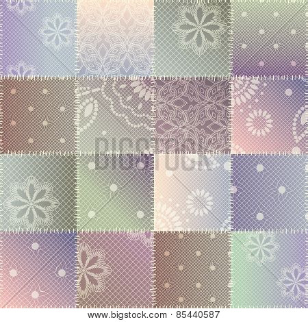 Patchwork of lace fabric.
