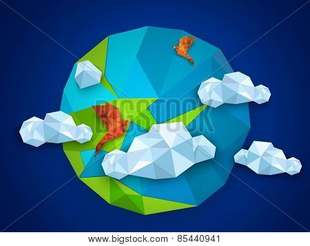 Earth day concept with origami globe, flying birds and clouds on blue background.