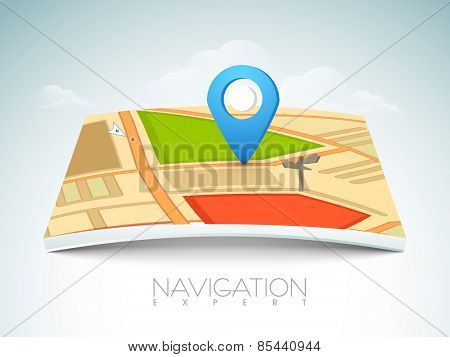 City map with 3D navigation pointer on cloudy background.