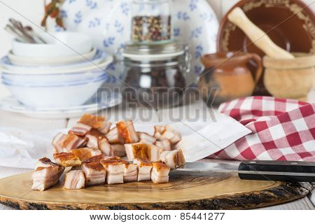 Diced Bacon On The Kitchen Table