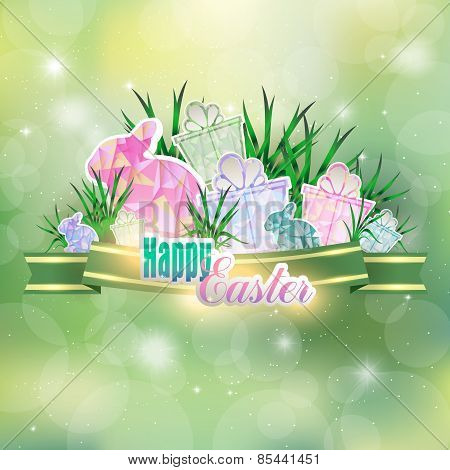 Abstract spring background with Easter eggs and Bunny in the gra