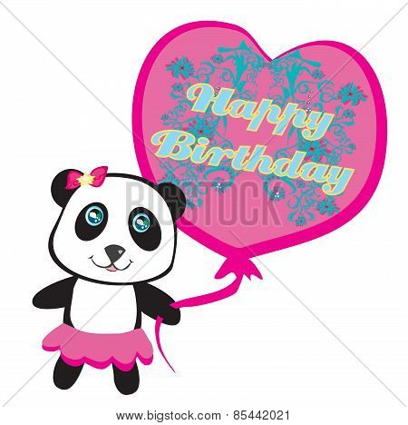 Happy Birthday Card - Cute Panda With Balloon
