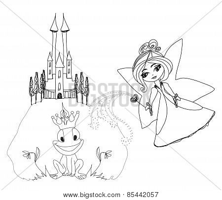 Frog Prince Cartoon Character And Beautiful Fairy