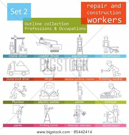 Professions and occupations outline icon set. Repair and construction workers. Flat linear design
