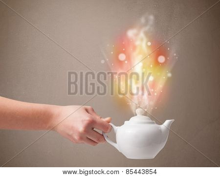 Tea pot with abstract steam and colorful lights, close up