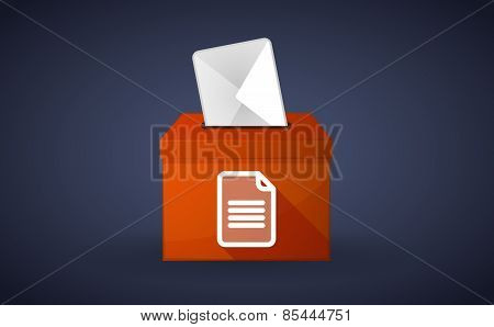 Orange Ballot Box With A Document