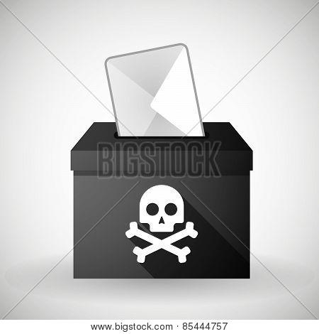 Black Ballot Box With A Skull