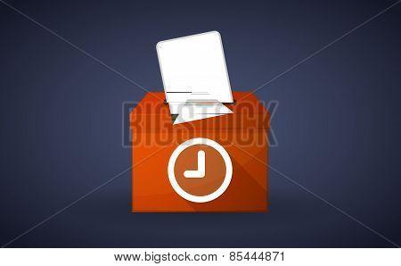 Orange Ballot Box With A Clock