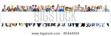 Group of workers people with poster. Isolated on white background