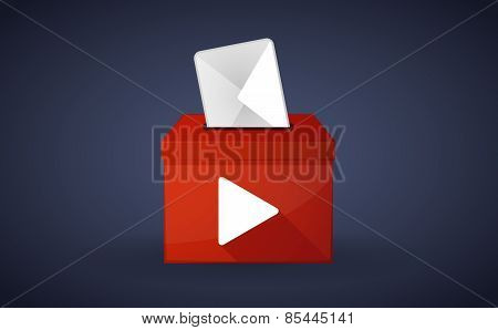 Red Ballot Box With A Play Sign