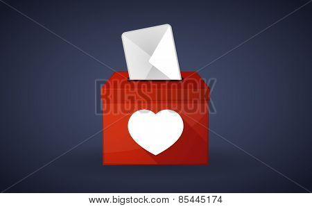 Red Ballot Box With A Heart