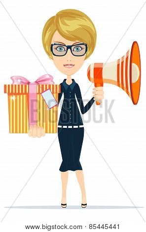 Beautiful girl with gifts, vector illustration