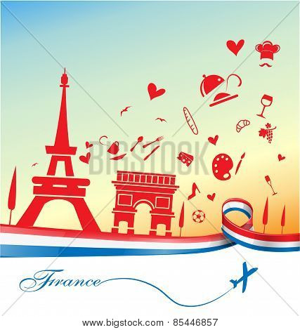 France Background With Symbol And Flag