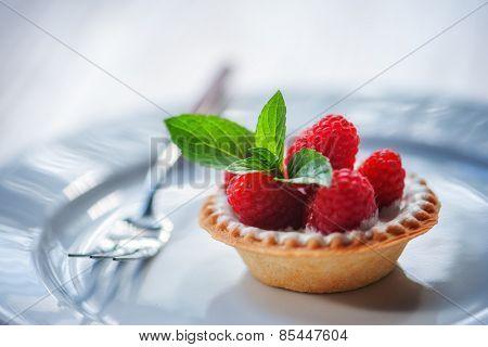 raspberry cake with mint twig