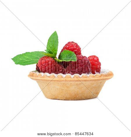 raspberry cake with mint twig isolated