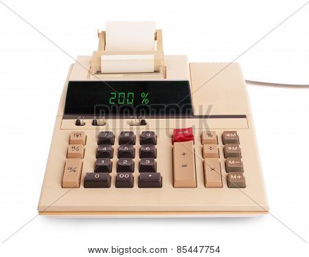 Old Calculator Showing A Percentage - 200 Percent