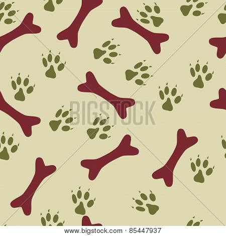 Colorful Seamless Pattern With Bones And Steps