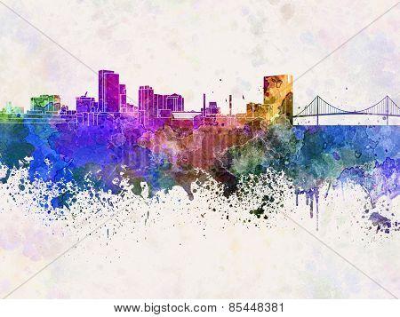 Toledo Skyline In Watercolor Background