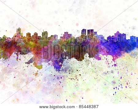 Winnipeg Skyline In Watercolor Background